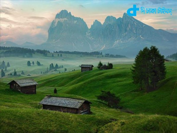 Surrounded by mountains in a natural scene