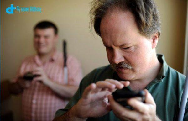 Smartphone tab & blind man