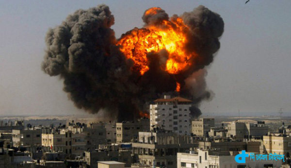 An Israeli warplane pounds a residential area in Gaza Strip. (File photo)