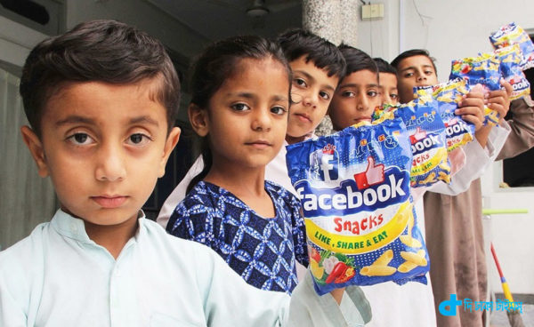 children eat Facebook