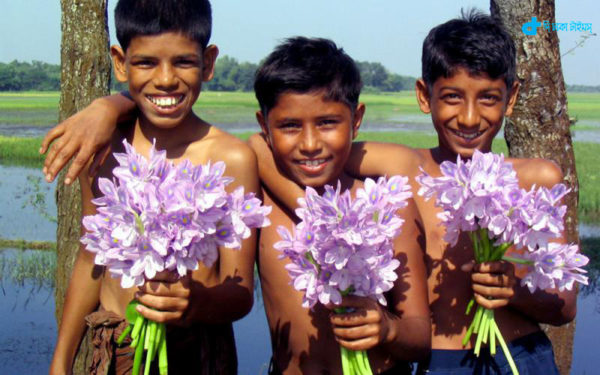 village children, and hyacinth flowers