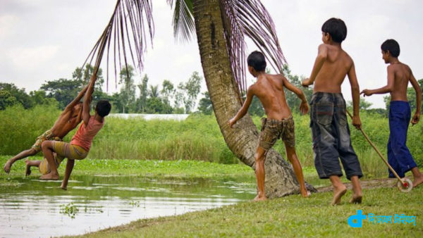 village children play