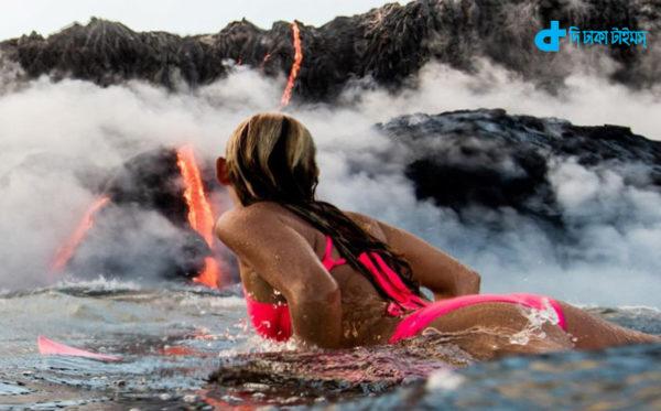 Volcanic lava swim in sea